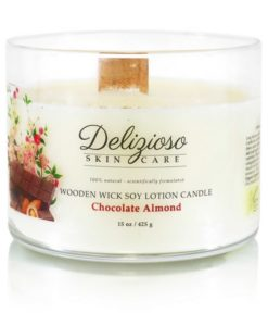 Chocolate Almond Wooden Wick Soy Lotion Candle - Delizioso Skincare