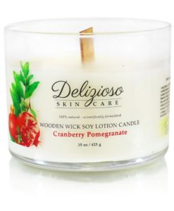 Cranberry Pomegranate Wooden Wick Soy Lotion Candle - Delizioso Skincare