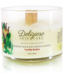 Vanilla Sorbet Wooden Wick Soy Lotion Candle - Delizioso Skincare